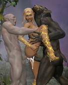 Goblin and Werewolf vs. Elf Warrior
